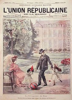The cover of L'Union Republicaine de la Marne (a French magazine), 1899, shows The Russian Imperial family (Tsar Nicholas II with his wife and daughters Olga and Tatiana) on vacation at the Chateau de Wolfsgarten.