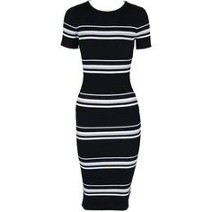 Stripe Ribbed Sweater Midi Dress (£69) ❤ liked on Polyvore featuring dresses, calf length dresses, midi dress, short-sleeve dresses, rayon dress and ribbed dress