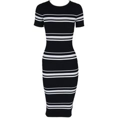 Stripe Ribbed Sweater Midi Dress (£69) ❤ liked on Polyvore featuring dresses, calf length dresses, midi dress, short-sleeve dresses, rayon dress and ribbed dress