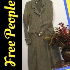 """Free People Beautiful Trench Coat Free People wool blend lightweight Trench coat. I  this but I'm just too short to wear it! Hand wash, lay flat to dry. No flaws! Length almost 50"""". Awesome metal buttons on front and each sleeve trades Free People Jackets & Coats Trench Coats"""