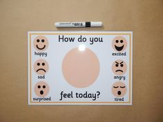 Emotions feelings How do you feel today Laminated reusable Emotions Preschool, Teaching Emotions, Emotions Activities, Nursery Activities, Preschool Writing, Autism Activities, Wellness Activities, Preschool Worksheets, Social Emotional Activities