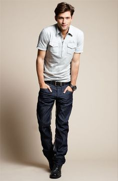 Sean O'Pry | DIESEL® 'T-Maya-RS' Jersey Polo...I like this casual look
