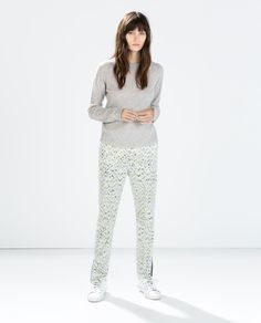 I actually just bought these. Hope they fit right. ZARA - PRINTED TROUSERS WITH ZIP HEM