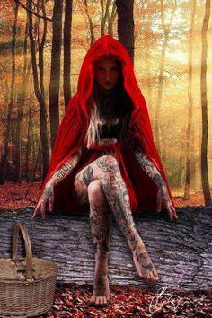 Tattoo wolf girl drawing little red 60 ideas para 2019 - Modeln & Fotographie - Dark Fantasy Art, Fantasy Girl, Dark Art, Gothic Art, Gothic Girls, Gothic Horror, Tattoo Girls, Girl Tattoos, Arte Assassins Creed
