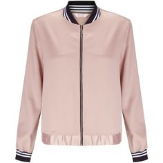 Miss Selfridge Petite Bomber Jacket, Pink ($43) ❤ liked on Polyvore featuring outerwear, jackets, petite, zip bomber jacket, bomber style jacket, metallic jackets, short slip and sport jacket