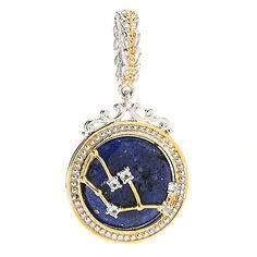 147-636 - Gems en Vogue 16mm Lapis & White Topaz Constellation Drop Charm