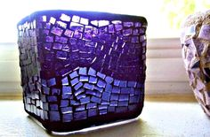 Etsy Mosaic Purple Stained Glass Candle Holder Vase Home Decor Gift Ideas Hostess 3.5 inches