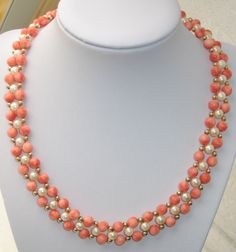 BEAUTIFUL CARVED ANGEL SKIN CORAL PEARL NECKLACE 14K GOLD CLASP & BEADS