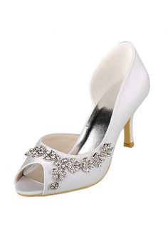 eac925e5876 Buy discount Chic Satin Upper Peep Toe Stiletto Heels Bridal Shoes With  Rhinestones at Dressilyme.com