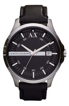 AX Armani Exchange 'Whitman Platform' Leather Strap Watch | Nordstrom