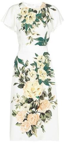 c338a4c4 Dolce & Gabbana Floral-printed Silk Dress White Floral Dress, White Silk  Dress,