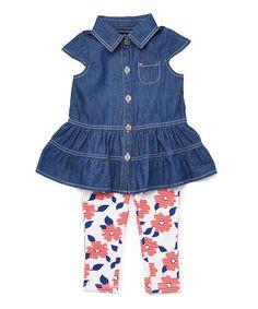 Denim Button-Up Tunic & Floral Leggings - Infant Toddler & Girls