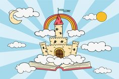 Sprookjeconcept met kasteel en regenboog... | Free Vector #Freepik #freevector #ontwerp Lisa Simpson, Cartoons, Fictional Characters, Animated Cartoons, Cartoon, Comics And Cartoons, Comics, Animation