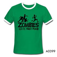 Zombies hate ate fast food Walking Dead Dawn of dead Night of living Apocalpyse Tee T-Shirt Short Sleeve