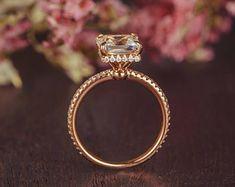 Rose Gold Engagement Ring Princess Cut White Topaz Ring Bridal 3/4 Eternity Birthstone Diamond Unique Antique Anniversary Women Promise Gift