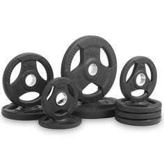 XMark Fitness Premium Quality Rubber Coated Tri-grip Olympic Plate Weights XM-3377-BAL-95 95lbs set