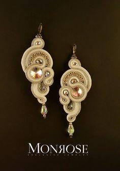 White grey silver soutache earrings