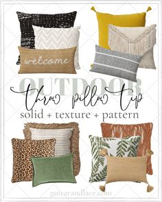 How to Style Throw Pillows | Patio throw pillows, patio design, patio furniture, backyard decor Boho Throw Pillows, Patio Pillows, Sofa Pillows, Outdoor Throw Pillows, Decorative Throw Pillows, Scatter Cushions, Designer Throw Pillows, Walmart Home, Decoration