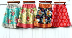Semi Gathered A-Line Skirt New Joel Dewberry Botanique Line Full Circle Skirts, A Line Skirts, Chambray, French Seam, Extra Fabric, Top Stitching, Shades Of Purple, Sewing Clothes, Rock