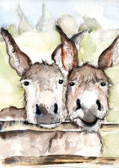 Two Donkeys Illustration Painting Donkeys Watercolor by CathWard