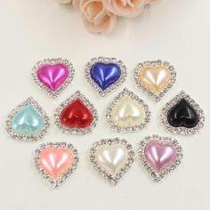 10pc Teardrop Diamante Pearl Button Crystal Beige Flatback DIY Craft 20x25mm