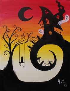 House on Haunted Hill Step by Step Acrylic Painting on Canvas for Beginners