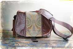 Leather Camera Bag New Satchel    Paisley Canvas by PorteenGear, $140.00
