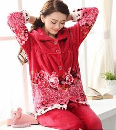 eeea1a5421 Autumn winter pajamas Women Large size pajamas 2piece set women  Tops+trousers NEW Flannel Thick Warm Soft and comfortable B3117