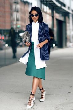 Look for jewel-tone pieces to liven up your professional work outfits.