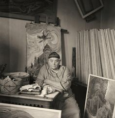 """After when Emily Carr's health made painting difficult for her, she turned mainly to writing, producing a series of books. Harold Mortimer-Lamb, """"Emily Carr in Her Studio,"""" Vancouver Art Gallery. Canadian Painters, Canadian Artists, Emily Carr Paintings, Dulwich Picture Gallery, Vancouver Art Gallery, Pole Art, Impressionist Paintings, Canada, Photos"""