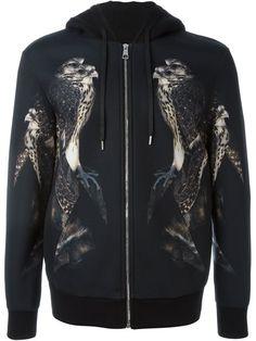 NEIL BARRETT Bird Print Zipped Hoodie. #neilbarrett #cloth #hoodie
