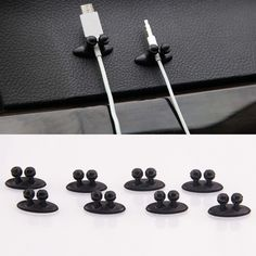 8PCS Multifunctional Adhesive Car Charger Line Clasp Clamp Headphone/USB Cable Car Clip Interior Accessories