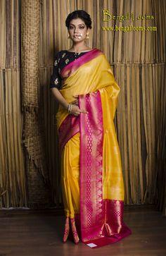 Tussar Silk Banarasi Saree in Banana Yellow and Magenta