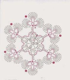 Crochet Snowflake Pattern, Crotchet Patterns, Crochet Stars, Crochet Snowflakes, Thread Crochet, Crochet Patterns Amigurumi, Crochet Diagram, Crochet Motif, Crochet Doilies