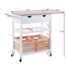 """Portable wood kitchen trolley is ideal for adding extra counter space to your kitchen. 1 X Wood kitchen trolley. Foldable and extendable desktop. 2x pull outlarge drawers. Drawer size:11.6"""" x14.0"""" x 4.1""""(L x W x D).   eBay!"""