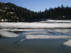 Strawberry Lake in Montana...3.5 miles straight up a mountain. From dry land to snow in 30 minutes.