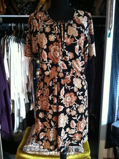 Vintage 70s Airy Floral Print Midi Dress SL by LonelyMoonChild, $39.00