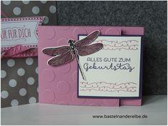 Gutscheinkarte, Geburtstagskarte mit Libelle, Stempelset Li(e)belleien, #stampinup #bastelnanderelbe