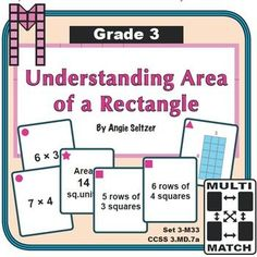 Multi-Match Game Cards 3M: Understanding Area of a Rectangle. This set of printable cards will help students understand how the area of a rectangle is related to the number of square tiles that fit inside. Students match various multiplication expressions to models during activities. ~by Angie Seltzer | Teachers Pay Teachers