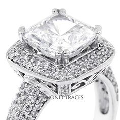 4.94 Ct Square Cushion Natural Diamond Engagement Ring