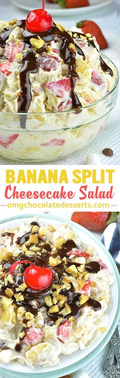Banana Split Cheesecake Salad - Creamy vanilla pudding and whipped topping mixture loaded with bananas, fresh strawberries and pineapple chunks is perfect way to trick your kids into eating some fresh fruits.