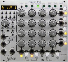TipTop Audio Trigger Riot. What happens if you put a clock divider, clock multiplier, step injector, time shifter, clock shifter, pulse width modulator, and an arithmatic probablity processor all under the control of a single knob? now what will happen if you fit 16 of those knobs into a single module and have them interact? you will have a riot