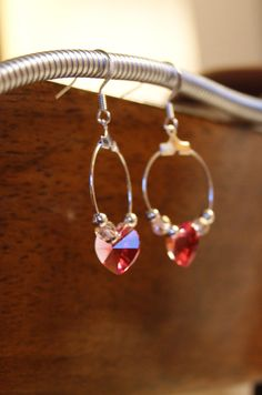Blush Pink Swarovski Heart Crystal on Hoop Earring