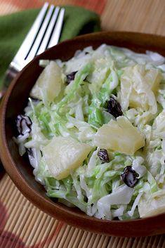 Cabbage and Pineapple Salad - AntojandoAndo pasta rezept healthy pasta recipes Mexican Shrimp Recipes, Veggie Recipes, Salad Recipes, Beef Recipes, Vegetarian Recipes, Cooking Recipes, Healthy Recipes, Healthy Salads, Healthy Eating