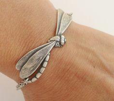 Dragonfly Bracelet- Sterling Silver Ox Finish by bellamantra