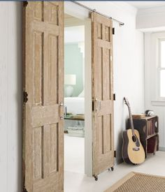 Master bathroom door, with barn wood or antique doors