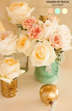 peach mint gold wedding centerpiece / http://www.himisspuff.com/peach-mint-wedding-color-ideas/6/