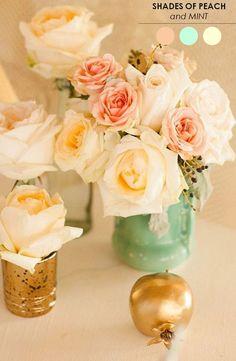 peach mint gold wedding centerpiece / http://www.himisspuff.com/peach-mint-wedding-color-ideas/6/