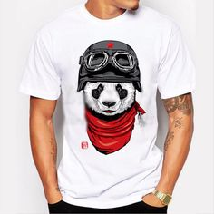 Red and Black Panda Men's T-Shirt - Ace Gift Shop