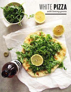 White Pizza with Lemony Greens Recipe by Take a Megabite | Maypurr
